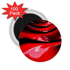 Red Fractal Mathematics Abstract 2 25  Magnets (100 Pack)