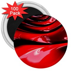 Red Fractal Mathematics Abstract 3  Magnets (100 Pack)