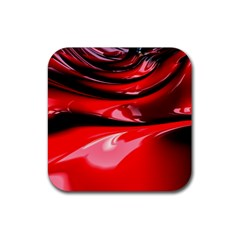 Red Fractal Mathematics Abstract Rubber Square Coaster (4 Pack)