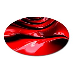 Red Fractal Mathematics Abstract Oval Magnet