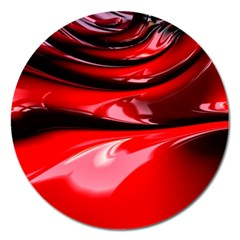 Red Fractal Mathematics Abstract Magnet 5  (round)
