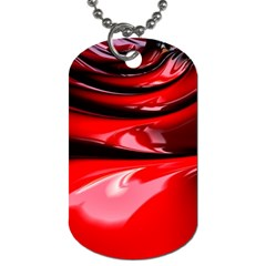 Red Fractal Mathematics Abstract Dog Tag (one Side)