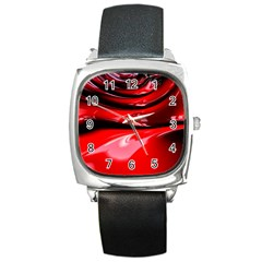 Red Fractal Mathematics Abstract Square Metal Watch