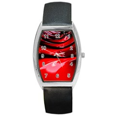 Red Fractal Mathematics Abstract Barrel Style Metal Watch