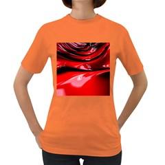 Red Fractal Mathematics Abstract Women s Dark T Shirt