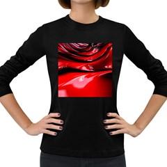 Red Fractal Mathematics Abstract Women s Long Sleeve Dark T Shirts