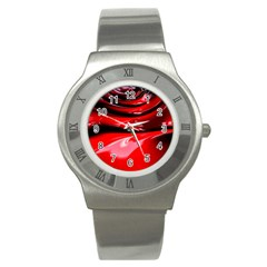Red Fractal Mathematics Abstract Stainless Steel Watch