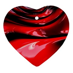 Red Fractal Mathematics Abstract Heart Ornament (two Sides)