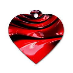 Red Fractal Mathematics Abstract Dog Tag Heart (one Side)