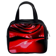 Red Fractal Mathematics Abstract Classic Handbags (2 Sides)