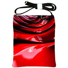 Red Fractal Mathematics Abstract Shoulder Sling Bags