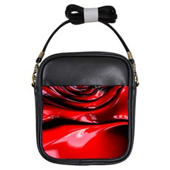 Red Fractal Mathematics Abstract Girls Sling Bags