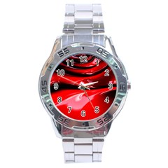 Red Fractal Mathematics Abstract Stainless Steel Analogue Watch