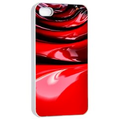 Red Fractal Mathematics Abstract Apple Iphone 4/4s Seamless Case (white)