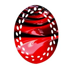 Red Fractal Mathematics Abstract Oval Filigree Ornament (two Sides)