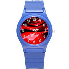 Red Fractal Mathematics Abstract Round Plastic Sport Watch (s)