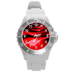 Red Fractal Mathematics Abstract Round Plastic Sport Watch (l)
