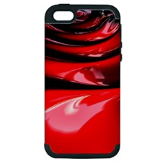 Red Fractal Mathematics Abstract Apple Iphone 5 Hardshell Case (pc+silicone)