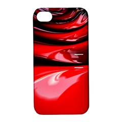 Red Fractal Mathematics Abstract Apple Iphone 4/4s Hardshell Case With Stand