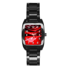 Red Fractal Mathematics Abstract Stainless Steel Barrel Watch