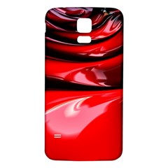 Red Fractal Mathematics Abstract Samsung Galaxy S5 Back Case (white)