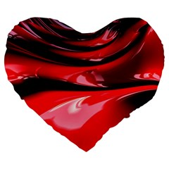 Red Fractal Mathematics Abstract Large 19  Premium Flano Heart Shape Cushions