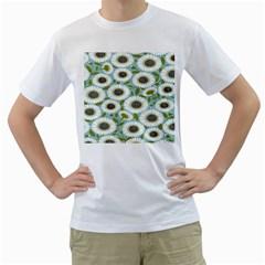 Sunflower Flower Floral Men s T-Shirt (White) (Two Sided)