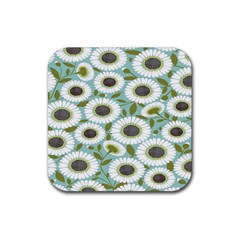 Sunflower Flower Floral Rubber Square Coaster (4 pack)