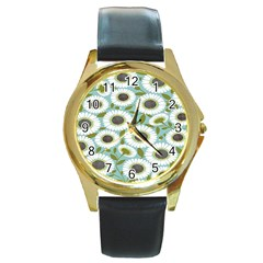 Sunflower Flower Floral Round Gold Metal Watch