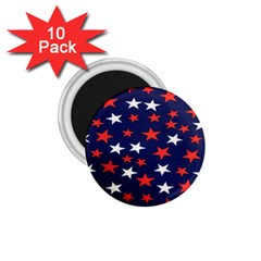 Star Red White Blue Sky Space 1 75  Magnets (10 Pack)