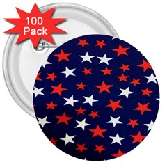 Star Red White Blue Sky Space 3  Buttons (100 Pack)