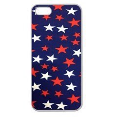 Star Red White Blue Sky Space Apple Seamless Iphone 5 Case (clear)