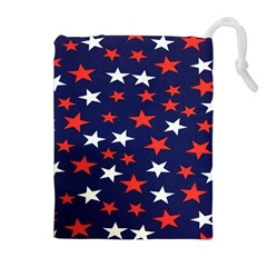 Star Red White Blue Sky Space Drawstring Pouches (Extra Large)