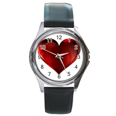 Heart Gradient Abstract Round Metal Watch