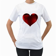 Heart Gradient Abstract Women s T Shirt (white) (two Sided)