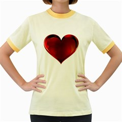 Heart Gradient Abstract Women s Fitted Ringer T Shirts