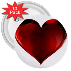 Heart Gradient Abstract 3  Buttons (10 Pack)