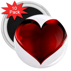 Heart Gradient Abstract 3  Magnets (10 Pack)