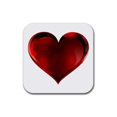 Heart Gradient Abstract Rubber Square Coaster (4 pack)