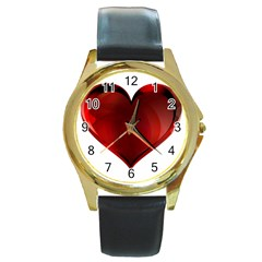 Heart Gradient Abstract Round Gold Metal Watch