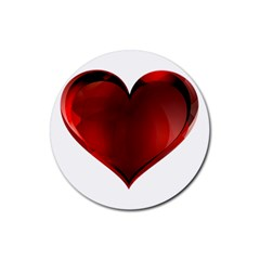 Heart Gradient Abstract Rubber Round Coaster (4 Pack)