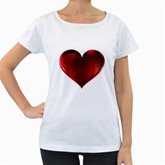 Heart Gradient Abstract Women s Loose-Fit T-Shirt (White)
