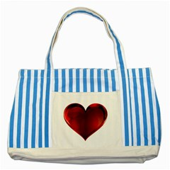 Heart Gradient Abstract Striped Blue Tote Bag