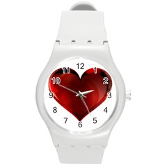 Heart Gradient Abstract Round Plastic Sport Watch (m)