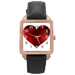 Heart Gradient Abstract Rose Gold Leather Watch