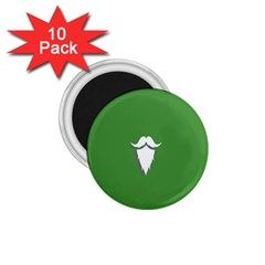 The Dude Beard White Green 1 75  Magnets (10 Pack)