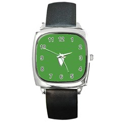 The Dude Beard White Green Square Metal Watch