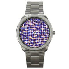 Surface Pattern Net Chevron Brown Blue Plaid Sport Metal Watch