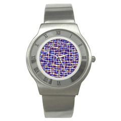 Surface Pattern Net Chevron Brown Blue Plaid Stainless Steel Watch