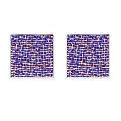 Surface Pattern Net Chevron Brown Blue Plaid Cufflinks (square)